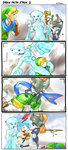 4koma aqua_hair blonde_hair blue_eyes blue_scarf camera carrying comic earrings english green_clothes green_hat hat highres jewelry lana_(zelda_musou) link midna mundane_utility pointy_ears princess_ruto purple_eyes scarf selfie_stick shoulder_carry stup-jam the_legend_of_zelda zelda_musou zora