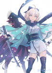 2girls ahoge artist_name black_bow black_hair black_legwear black_scarf blue_eyes bow breasts cape eyebrows_visible_through_hair fate/grand_order fate_(series) floating_hair hair_bow holding holding_sheath holding_sword holding_weapon japanese_clothes katana kimono long_hair looking_at_viewer looking_back medium_breasts multiple_girls nichiru obi oda_nobunaga_(fate) okita_souji_(fate) parted_lips red_cape red_eyes sash scarf short_hair short_kimono silver_hair simple_background smile sword thighhighs very_long_hair weapon white_background white_kimono