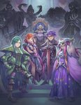 1girl 4boys black_dress blue_eyes breasts circlet cleavage cloak demon dress dual_persona faulds frown full_body gauntlets geshtar_(seiken_densetsu) glowing glowing_eyes greaves green_hair haccan headwear_removed helmet helmet_removed high_heels highres horned_headwear horned_helmet knight leg_tattoo long_dress long_hair medium_breasts multiple_boys official_art orange_hair pauldrons phanna pink_hair planted_sword planted_weapon plate_armor plunging_neckline pointy_ears pointy_shoes red_eyes seiken_densetsu seiken_densetsu_2 sheex_(seiken_densetsu) shoes skull_mask speeder_bike spiked_armor sword tattoo thanatos_(seiken_densetsu) throne transformation vandole weapon zweihander