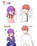 1boy 1girl absurdres appleale19 apron bangs breasts cape earrings emiya_shirou fate/grand_order fate/stay_night fate_(series) flower gameplay_mechanics hair_flower hair_ornament hair_ribbon highres homurahara_academy_uniform igote indian_clothes jewelry limited/zero_over long_hair matou_sakura necklace orange_hair parvati_(fate/grand_order) purple_eyes purple_hair red_ribbon ribbon sengo_muramasa_(fate) smile solo yellow_eyes