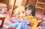 2girls :o akagi_miria artist_request backpack bag bangs barefoot bed black_hair blonde_hair blush card child closed_eyes curtains green_eyes hair_down hug hug_from_behind idolmaster idolmaster_cinderella_girls idolmaster_cinderella_girls_starlight_stage multiple_girls official_art open_mouth pajamas pencil playing_card ribbon sakurai_momoka short_hair sitting stuffed_animal stuffed_bunny stuffed_toy surprised table wavy_hair wooden_table