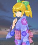 1girl bangs blonde_hair blunt_bangs blush bow camellia36kiyo clenched_hand cloud commentary_request eyebrows_visible_through_hair green_bow green_eyes hair_bow hair_ornament high_ponytail japanese_clothes kimono looking_at_viewer obi ponytail rockman rockman_(classic) roll sash sky smile solo yukata