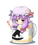 1girl :< blush chibi crescent cup hat in_container in_cup long_hair lowres minigirl mug mukyuu neko_yume patchouli_knowledge purple_hair solo touhou witch_hat