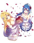 2girls ahoge armpit_crease bare_shoulders blonde_hair blue_eyes blue_hair blush bouquet braid braided_ponytail breasts bridal_veil character_request circlet cleavage closed_mouth collarbone dress earrings elbow_gloves elf endenburg_no_hanayome eyebrows_visible_through_hair eyeliner flower frilled_dress frills from_above full_body garter_straps gloves hair_between_eyes hair_flower hair_ornament high_heels highres holding holding_bouquet jewelry large_breasts layered_dress light_brown_eyes long_hair looking_at_viewer looking_up makeup monster_ears multiple_girls necklace novel_illustration official_art petals pointy_ears red_flower red_rose rose rose_petals side_slit sidelocks simple_background small_breasts smile standing strapless strapless_dress thighhighs veil very_long_hair wedding_dress white_background white_dress white_flower white_rose yasumo_(kuusouorbital)