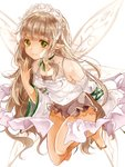 1girl barefoot breasts brown_hair brown_shorts camisole character_request closed_mouth commentary_request detached_sleeves fairy fairy_wings fingernails green_eyes hand_to_own_mouth long_hair long_sleeves merc_storia naoton pointy_ears short_shorts shorts simple_background small_breasts smile solo toenails very_long_hair white_background white_camisole wide_sleeves wings