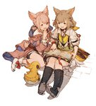 2girls :d animal_ears bare_legs bell black_eyes black_footwear bloomers blush book boots brown_hair final_fantasy final_fantasy_xiv full_body hair_bell hair_ornament jingle_bell junwool khloe_aliapoh long_sleeves miqo'te multiple_girls open_mouth pink_eyes pink_hair short_hair simple_background sitting smile stuffed_animal stuffed_toy t'kebbe tail twintails underwear wariza white_background white_footwear