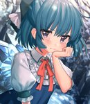 1girl bangs bare_tree blue_bow blue_dress blue_eyes blue_hair blurry blurry_background blush bow cirno commentary_request dress eyebrows_visible_through_hair frilled_shirt_collar frills hair_between_eyes hair_bow hand_on_own_cheek hand_up highres ice ice_wings light_particles looking_at_viewer masanaga_(tsukasa) neck_ribbon pinafore_dress red_neckwear red_ribbon ribbon shirt short_hair snow solo tears touhou tree upper_body white_shirt wings