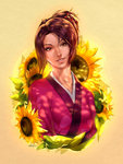 1girl brown_eyes brown_hair flower fuu japanese_clothes kimono portrait reza_kabir samurai_champloo smile solo sunflower