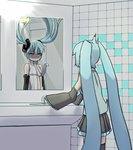 2girls aqua_eyes aqua_hair aqua_shirt bare_shoulders bathroom black_legwear black_skirt commentary cowboy_shot detached_sleeves different_reflection dual_persona faucet floating_hair from_behind hair_ornament hatsune_miku hatsune_miku_(append) highres long_hair looking_at_mirror mikidar mirror multiple_girls navel necktie reflection shaded_face shirt skirt sleeveless sleeveless_shirt sleeves_past_fingers sleeves_past_wrists surprised thighhighs tile_wall tiles twintails very_long_hair vocaloid vocaloid_append wide_sleeves
