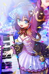 1girl antenna_hair blue_eyes blue_hair breasts cleavage crevasse instrument lowres open_mouth piano short_hair solo star sword_girls tagme