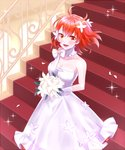 1girl :d bouquet bow breasts choker cleavage collarbone dress eyebrows_visible_through_hair fate/grand_order fate_(series) floating_hair flower fujimaru_ritsuka_(female) gloves hair_between_eyes hair_flower hair_ornament holding holding_bouquet indoors long_dress medium_breasts one_side_up open_mouth orange_eyes red_hair short_hair sleeveless sleeveless_dress smile solo stairs strapless strapless_dress white_bow white_dress white_flower white_gloves xrfc8473