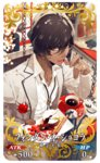 1boy arjuna_(fate/grand_order) bespectacled cake chocolate coffee_mug coffee_pot craft_essence cup dark_skin dark_skinned_male fate/grand_order fate_(series) food glasses hanamura_mai jewelry lava_cake licking looking_at_viewer male_focus mug official_art ring sitting solo table yonic_symbol