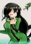1girl :> aiue0 asui_tsuyu black_eyes black_hair blush bodysuit boku_no_hero_academia breasts commentary_request fingernails flower frog frog_girl graphite_(medium) green_bodysuit hair_rings highres long_hair low-tied_long_hair millipen_(medium) offering one_eye_closed smile traditional_media wading water