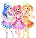 3girls :d absurdres ascot blue_hair blush boots bow capelet choker detached_sleeves double_stripe eyebrows_visible_through_hair flower glint gloves hair_flower hair_ornament hand_on_hip hand_up hat highres knee_boots layered_skirt long_hair looking_at_viewer mini_hat multiple_girls musical_note ohisashiburi open_mouth orange_hair pink_bow pink_choker pink_eyes pink_hair pink_skirt pleated_skirt puffy_short_sleeves puffy_sleeves purple_eyes purple_flower red_flower round_teeth shining_star short_sleeves skirt smile socks standing standing_on_one_leg striped striped_legwear teeth thighhighs tiara tilted_headwear twintails vest waving white_capelet white_footwear white_gloves white_hat white_vest wristband yellow_bow yellow_eyes yellow_legwear