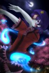 1girl blue_hair cherry_blossoms cloud cloudy_sky ears fingernails grey_skin hat hitodama jiangshi long_fingernails miyako_yoshika moon netsufa night night_sky ofuda outdoors outstretched_arms purple_eyes short_hair short_sleeves sky solo star star_(sky) stone_lantern tagme touhou zombie_pose