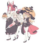 3girls :d akatsuki_yuni animal_ear_fluff ascot asymmetrical_horns bangs bare_shoulders black_cape black_footwear black_hat black_skirt black_vest blade_(galaxist) blonde_hair blood blush bow breasts brown_hair cape closed_eyes closed_mouth commentary_request crossover curled_horns eyebrows_visible_through_hair fang hair_bow hair_ornament hairclip hat holding holding_plate holding_syringe holding_umbrella jack-o'-lantern knife large_syringe long_hair long_skirt magrona magrona_channel medium_breasts mini_hat mini_top_hat multicolored multicolored_cape multicolored_clothes multiple_crossover multiple_girls natori_sana open_mouth orange_umbrella oversized_object pantyhose plaid plate pleated_skirt red_bow red_cape red_eyes red_hair sana_channel shirt shoes simple_background skirt sleeveless sleeveless_shirt smile standing standing_on_one_leg stuffed_animal stuffed_bunny stuffed_toy syringe themed_object tilted_headwear top_hat two_side_up umbrella uni_channel very_long_hair vest virtual_youtuber white_background white_legwear white_neckwear white_shirt wrist_cuffs