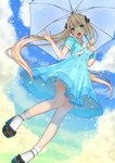 1girl :d ama_mitsuki aqua_eyes black_bow blonde_hair blue_dress blush bow cloud commentary_request day dress full_body hair_bow hair_ribbon high_heels holding holding_umbrella long_hair looking_at_viewer open_mouth original outdoors rain revision ribbon sailor_dress shoes short_sleeves skirt smile socks solo twintails umbrella upper_teeth very_long_hair white_legwear white_neckwear white_umbrella