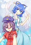 2girls :d blue_hair cloth drooling fang hand_on_another's_hat hat highres jiangshi kaku_seiga miyako_yoshika multiple_girls ofuda open_mouth outstretched_arms puchimirin puffy_short_sleeves puffy_sleeves purple_eyes purple_hair see-through short_hair short_sleeves smile touhou zombie_pose