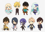 ahoge arash_(fate) armor arthur_pendragon_(fate) bare_shoulders black_hair blonde_hair blush brynhildr_(fate) chibi dark_skin dark_skinned_male dress fate/prototype fate/prototype:_fragments_of_blue_and_silver fate_(series) fingerless_gloves gloves green_eyes hassan_of_serenity_(fate) jekyll_and_hyde_(fate) kitano_tatsumi long_hair looking_at_viewer mask multiple_boys nakahara_(mu_tation) open_mouth ozymandias_(fate) paracelsus_(fate) ponytail purple_eyes purple_hair sajou_manaka short_hair silver_hair skull smile yellow_eyes