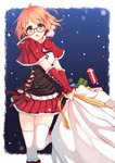 1girl box brown_eyes carrying gift gift_box glasses highres kuriyama_mirai kyoukai_no_kanata looking_at_viewer pink_hair pleated_skirt short_hair skirt snowing solo terras thighhighs white_legwear zettai_ryouiki
