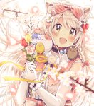 1girl :d animal_ear_fluff animal_ears bangs blurry blurry_foreground blush bouquet bow brown_eyes commentary_request depth_of_field elbow_gloves eyebrows_visible_through_hair flower gloves hair_between_eyes hair_bow hair_flower hair_ornament hands_up head_tilt highres holding holding_bouquet looking_at_viewer open_mouth original pink_flower purple_flower red_bow red_flower sakura_oriko shirt sleeveless sleeveless_shirt smile solo tree_branch upper_body white_background white_flower white_gloves white_hair white_shirt wrist_cuffs yellow_flower