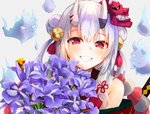 1girl bangs bell blush bouquet commentary_request flower grin hair_bell hair_between_eyes hair_bun hair_ornament holding holding_bouquet hololive horns iris_(flower) japanese_clothes konkito long_hair looking_at_viewer mask mask_on_head multicolored_hair nakiri_ayame oni oni_horns red_eyes sidelocks silver_hair smile solo streaked_hair upper_body virtual_youtuber