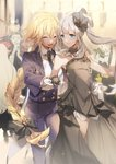 2girls alternate_costume black_bow black_gloves blonde_hair bow braid caster_(fate/zero) closed_eyes commentary dancing dress fate/grand_order fate_(series) formal gloves hair_bow hair_ornament highres holding_hands jeanne_d'arc_(fate) jeanne_d'arc_(fate)_(all) long_braid long_hair marie_antoinette_(fate/grand_order) multiple_girls necktie no-kan reverse_trap silver_hair single_braid smile sparkle strapless strapless_dress suit sweat very_long_hair white_gloves wolfgang_amadeus_mozart_(fate/grand_order)
