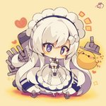 1girl :< >_< anchor animal apron azur_lane bangs beige_background belfast_(azur_lane) bird blue_dress blush blush_stickers breast_squeeze breasts broken broken_chain cannon chain chibi chick closed_eyes dress eyebrows_visible_through_hair flying_sweatdrops gloves hair_between_eyes heart highres large_breasts long_hair maid_headdress muuran parted_lips puffy_short_sleeves puffy_sleeves purple_eyes short_sleeves signature solo sparkle star star-shaped_pupils symbol-shaped_pupils triangle_mouth turret v_arms very_long_hair white_apron white_gloves white_hair