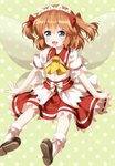 1girl :d ascot blue_eyes bow brown_legwear fairy_wings fang hair_between_eyes hair_bow headdress highres looking_at_viewer medium_hair open_mouth polka_dot polka_dot_background puffy_short_sleeves puffy_sleeves red_bow ruu_(tksymkw) shoes short_sleeves smile socks solo sunny_milk touhou two_side_up white_legwear wings yellow_neckwear