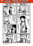 ! 1girl 4koma breasts chinese circlet cleavage comic facial_hair fine_art_parody genderswap genderswap_(ftm) glasses greyscale hat highres horns journey_to_the_west monochrome mustache open_clothes open_shirt otosama parody sha_wujing shirt spoken_exclamation_mark sun_wukong the_scream translated