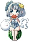 ._. 1girl :3 alternate_costume arms_up barefoot blush breasts character_name chibi commentary eating eyebrows_visible_through_hair food food_in_mouth fruit hair_ornament hair_ribbon highres holding holding_food holding_fruit impossible_clothes impossible_swimsuit konpaku_youmu konpaku_youmu_(ghost) large_breasts looking_at_viewer melon_slice old_school_swimsuit one-piece_swimsuit open_mouth pegashi ribbon school_swimsuit short_hair silver_eyes silver_hair simple_background sitting_on_food smile solo star star_hair_ornament swimsuit thick_eyebrows touhou translated watermelon white_background