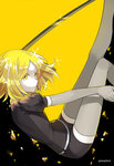 androgynous blonde_hair colored_eyelashes elbow_gloves gem_uniform_(houseki_no_kuni) gloves houseki_no_kuni looking_at_viewer mujun_atama short_hair shorts smile solo sparkle sword thighhighs weapon yellow yellow_background yellow_diamond_(houseki_no_kuni) yellow_eyes