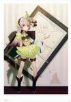 1girl absurdres atelier_(series) atelier_lydie_&_suelle bow dual_wielding gun handgun highres holding holding_gun holding_weapon huge_filesize long_hair looking_at_viewer noco_(adamas) official_art painting_(object) pink_hair pistol scan solo suelle_marlen trigger_discipline weapon yellow_bow