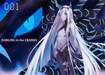 001_(darling_in_the_franxx) 1girl absurdres bangs bare_hips black_pants blue_eyes blunt_bangs breasts character_name cleavage copyright_name darling_in_the_franxx facial_mark floating_hair grey_skin highres horn long_hair looking_at_viewer pants silver_hair small_breasts solo spoilers standing underboob very_long_hair xo_(xo17800108)