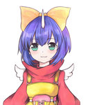 1girl :3 animated blue_eyes blue_hair bow eiko_carol emofuri final_fantasy final_fantasy_ix horn short_hair sim1 solo ugoira wings yellow_bow