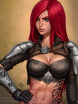 1girl 2017 armor breasts brown_background cleavage clenched_teeth commentary green_eyes hand_on_hip highres initial jewelry katarina_du_couteau league_of_legends long_hair looking_away medium_breasts mirco_cabbia navel necklace parted_lips red_hair revision scar scar_across_eye solo teeth upper_body watermark web_address