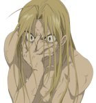1boy ahoge blonde_hair brown_eyes father_(fma) frown fullmetal_alchemist hand_on_own_face highres long_hair parody shiro_coffee_(saiga) shirtless solo style_parody veins white_background wide-eyed yellow_eyes