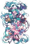 :< :d :o :t >_< apple aqua_eyes aqua_hair aqua_neckwear arched_back arm_up bandaid black_footwear black_hair black_legwear black_rock_shooter black_rock_shooter_(character) blood bloomers blue_eyes blue_hair blush boots burning_eye camisole carrying_over_shoulder chain clenched_hand closed_eyes closed_mouth cross_hair_ornament crossover detached_sleeves dress facial_mark fingerless_gloves floating_hair food fox_mask frills fruit gloves glowing glowing_eye hair_down hair_ornament hair_ribbon hands_on_own_cheeks hands_on_own_face hat hatsune_miku headphones headset high_heels highres holding holding_food holding_fruit hood hood_down hooded_jacket inhye injury jacket japanese_clothes kimono knees_together_feet_apart koiiro_byoutou_(vocaloid) layered_skirt long_hair long_sleeves looking_at_viewer mask matryoshka_(vocaloid) miniskirt multicolored multicolored_eyes multiple_girls multiple_persona musunde_hiraite_rasetsu_to_mukuro_(vocaloid) necktie no_shoes nurse nurse_cap obi odds_&_ends_(vocaloid) open_mouth oriental_umbrella outstretched_arm outstretched_arms oversized_object pill pink_footwear pink_legwear polka_dot pout puffy_short_sleeves puffy_sleeves reaching red_eyes ribbon rolling_girl_(vocaloid) romeo_to_cinderella_(vocaloid) sash scar school_uniform short_dress short_sleeves simple_background skirt skirt_lift sleeveless sleeves_past_wrists sleeves_rolled_up smile songover spread_arms syringe thigh_boots thighhighs track_jacket twintails umbrella underwear vocaloid white_background world_is_mine_(vocaloid) wrist_cuffs yukata