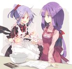 2girls alternate_hairstyle apron bat_wings book bow bowl card cat chocolate clenched_hands comic commentary dress eyebrows_visible_through_hair fangs hair_ornament hair_scrunchie holding holding_card lavender_hair long_hair long_sleeves multiple_girls open_mouth patchouli_knowledge pointy_ears ponytail purple_eyes purple_hair red_eyes remilia_scarlet satou_kibi scrunchie short_hair short_sleeves sleeves_past_wrists slit_pupils smile standing sweater touhou translation_request wings wrist_cuffs