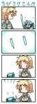 2girls 4koma aqua_hair chibi chibi_miku comic hatsune_miku kagamine_rin minami_(colorful_palette) multiple_girls silent_comic translated tupet vocaloid |_|