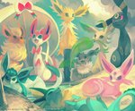 commentary creature eevee espeon flareon gen_1_pokemon gen_2_pokemon gen_4_pokemon gen_6_pokemon glaceon glitchedpuppet jolteon leaf leafeon lying mouth_hold no_humans on_back open_mouth pokemon pokemon_(creature) red_eyes ribbon sand signature sitting sylveon umbreon vaporeon water watermark web_address