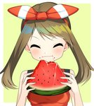 1girl bow breasts brown_hair closed_eyes eating eyebrows_visible_through_hair food fruit hair_bow hairband haruka_(pokemon) highres long_hair pokemon pokemon_(game) pokemon_oras red_hairband red_shirt shiny shiny_hair shirt simple_background sleeveless sleeveless_shirt small_breasts solo striped striped_bow twintails upper_body watermelon yuihiko