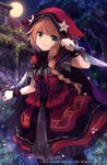 1girl black_legwear blush braid brown_hair closed_mouth commentary dagger dress dual_wielding full_moon green_eyes grey_dress grimms_echoes holding holding_dagger holding_weapon house little_red_riding_hood_(grimms_echoes) long_hair moon night night_sky outdoors pantyhose red_skirt roll_okashi short_sleeves single_braid skirt sky smile solo striped tree vertical-striped_dress vertical_stripes watermark weapon window wrist_cuffs