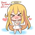 1girl >_< angel angel_wings bangs bare_arms bare_shoulders barefoot blonde_hair blush chibi closed_eyes collarbone commentary_request dress eyebrows_visible_through_hair facing_viewer full_body gabriel_dropout hair_between_eyes halo hana_kazari happy_birthday heart long_hair nose_blush open_mouth short_dress sleeveless sleeveless_dress solo standing tenma_gabriel_white translation_request very_long_hair wavy_mouth white_background white_dress white_wings wings