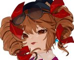 1girl bad_id bad_twitter_id black_hat brown_eyes brown_hair commentary_request drill_hair earrings eyebrows_visible_through_hair eyewear_on_head gotoh510 hair_between_eyes hair_ribbon hat jewelry looking_at_viewer mini_hat mini_top_hat portrait red_ribbon ribbon short_hair simple_background solo sunglasses tongue tongue_out top_hat touhou twin_drills twintails uneven_eyes white_background wing_collar yorigami_jo'on