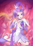1girl boots breasts choker cure_sword dokidoki!_precure dress earrings hair_ornament highres jewelry kenzaki_makoto long_hair magical_girl open_mouth ponytail precure purple_choker purple_eyes purple_hair purple_skirt ribbon skirt small_breasts solo spade_(shape) spade_earrings spade_hair_ornament spread_legs tentacles thigh_boots thighhighs tsurime wacchi