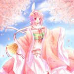 1girl animal_ears blue_sky blush bunny_ears cherry_blossoms cloud commentary_request day fan fire_emblem fire_emblem_if flower folding_fan garter_straps hair_flower hair_ornament hairband holding holding_fan japanese_clothes kimono long_sleeves looking_away looking_to_the_side obi open_mouth outdoors pink_flower pink_hair pink_kimono purple_eyes red_footwear sakura_(fire_emblem_if) sandals sasaki_fumi sash short_kimono sky sleeves_past_fingers sleeves_past_wrists solo standing standing_on_one_leg thighhighs white_hairband white_legwear wide_sleeves yellow_flower
