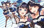 2girls :d armpits asaka_karin bangs black_footwear black_gloves black_hair black_legwear blue_eyes blue_feathers blue_flower blue_headwear blue_shirt blue_skirt breasts brown_eyes cleavage commentary_request cross-laced_clothes elbow_gloves flower frilled_shirt frills garter_straps gloves hair_ornament halftone hat hat_feather hat_flower high_heels jewelry kubota_miyu leg_ribbon long_hair looking_at_viewer love_live! love_live!_school_idol_festival microphone_stand miniskirt multiple_girls navel_cutout necklace open_mouth outstretched_hand perfect_dream_project purple_flower ribbon seiyuu seiyuu_connection shirt skirt small_breasts smile standing standing_on_one_leg striped striped_legwear suspenders tomiwo twitter_username vertical-striped_legwear vertical_stripes zoom_layer