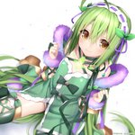 1girl ahoge bow bridal_gauntlets choker closed_mouth flower_knight_girl green_bow green_hair green_legwear green_neckwear green_panties green_ribbon green_shirt hair_between_eyes hairband hattori_masaki kneeling long_hair looking_at_viewer mint_(flower_knight_girl) panties ribbon shirt simple_background sitting smile solo thighhighs underwear wariza white_background yellow_eyes