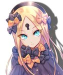 1girl >:( abigail_williams_(fate/grand_order) bangs black_bow black_dress black_headwear blonde_hair blue_eyes bow bug butterfly closed_mouth dress drop_shadow fate/grand_order fate_(series) forehead glowing glowing_eyes hair_bow hat insect keyhole light_frown long_hair looking_at_viewer multiple_bows multiple_hair_bows nasaniliu orange_bow parted_bangs polka_dot polka_dot_bow solo v-shaped_eyebrows very_long_hair white_background